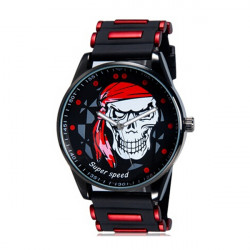 V6 Super Speed Skull Dial Silicone Band Quartz Sport Watch
