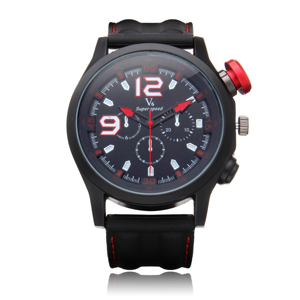 V6 V0144 Super Speed Big Dial Number Silicone Round Sport Men Watch Watch