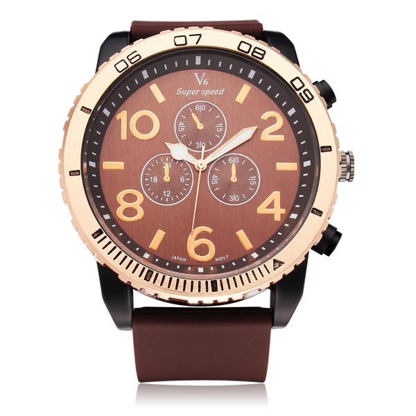 V6 V0166 Super Speed Sport Black Big Dial Men Quartz Wrist Watch Watch