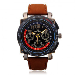 V6 V0182 Super Speed Big Dial Number PU Leather Men Wrist Watch