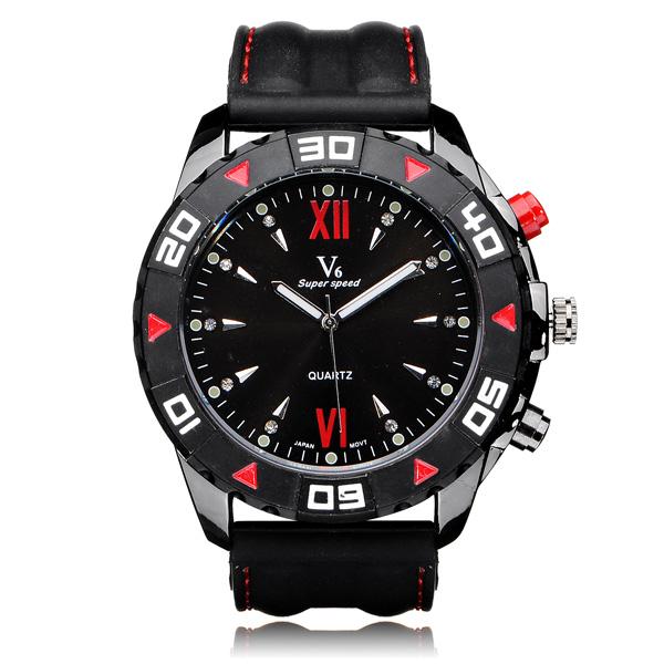 V6 V0188 Super Speed Big Dial Roman Number Rubber Men Wrist Watch Watch