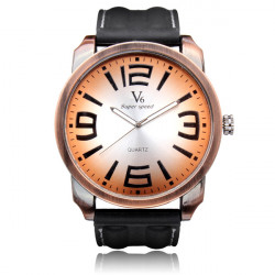 V6 V0190 Big Dial Super Speed Black Rubber Men Quartz Wrist Watch