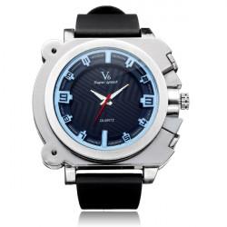 V6 V0191 Big Dial Super Speed Black Rubber Men Quartz Wrist Watch