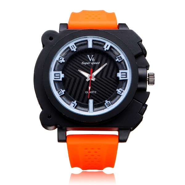 V6 V0191 Super Speed Big Dial Number Rubber Men Wrist Watch Watch