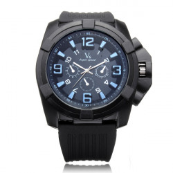 V6 V0193 Super Speed Big 3 Dial Silicone Black Number Sport Men Watch
