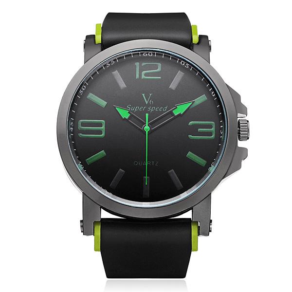 V6 V0195 Super Speed Big Dial Number Rubber Men Wrist Watch Watch