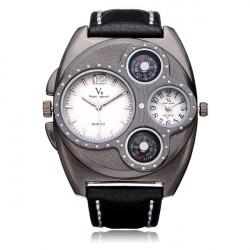 V6 V0196 Super Speed Big Dial Dual Time Black Men Wrist Watch