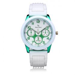 V6 V0217 Super Speed 3 Dial Silicone Round Sport Women Wrist Watch