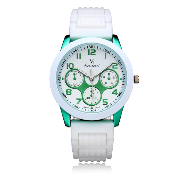 V6 V0217 Super Speed 3 Dial Silicone Round Sport Women Wrist Watch Watch