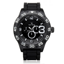 V6 V0222 Super Speed Big Dial Number Silicone Sport Men Women Watch