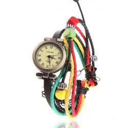 VIKEC Beads Wrap Leatcher Alloy Chain Women Quartz Bracelet Watch
