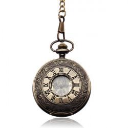 Vintage Bronze Romen Mechanical Round Chain Men Women Pocket Watch