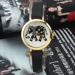 Vintage Elephant Printed Leather Band Quartz Watch