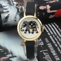 Vintage Elephant Printed Leather Band Quartz Watch