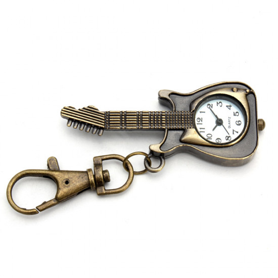 Vintage Guitar Shape Alloy Chain Pocket Watch 2021