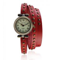 Vintage Leather Roman Round Women Quartz Bracelet Wrist Watch