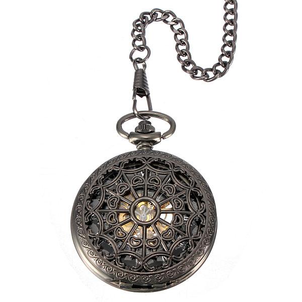 Vintage Men Steampunk Web Skeleton Mechanical Pocket Watch Watch