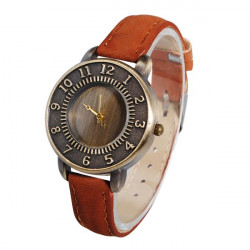 Vintage PU Leather Alloy Number Round Women Quartz Wrist Watch