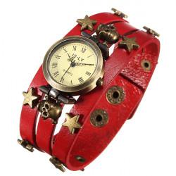 Vintage Punk Round Skull Stars Leather Quartz Bracelet Wrist Watch