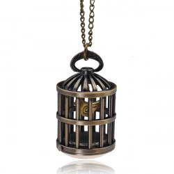 Vintage Retro Bird Birdcage Bronze Chain Quartz Women Pocket Watch