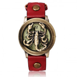 Vintage Scorpion Leather Bronze Women Quartz Bracelet Watch