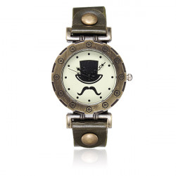 Vintage Women Bronze Mustache Beard Hat Leather Quartz Wrist Watch