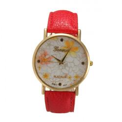 Vintage Women Flower Dial Leather Dress Quartz Wrist Watch