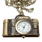 Vintage Xmas Christmas Brass Camera Necklace Pocket Watch Watch