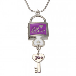 Vogue LOVE Heart Padlock Key Chain Pocket Watch Locket Necklace