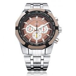 WEIDE WH1010 3 Dial Military Stainless Steel Men Wrist Quartz Watch