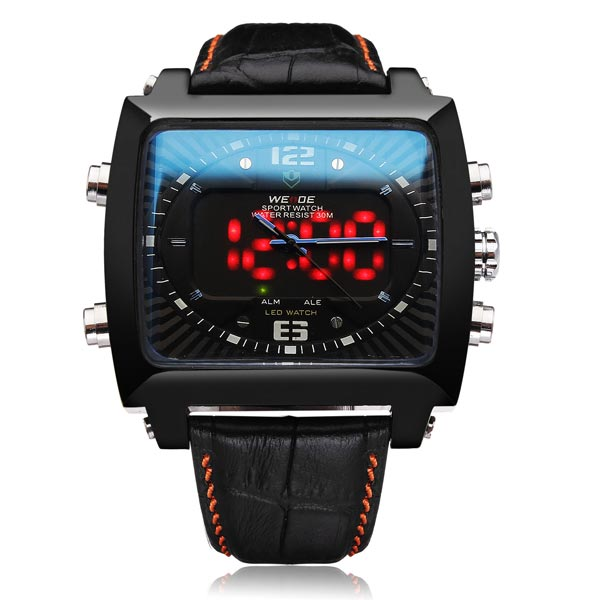 WEIDE WH2308 Black PU Leather Rectangle Sport Military Men Wrist Watch