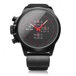 WEIDE WH3305 Black PU Leather Round Sport Military Men Wrist Watch