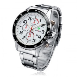 WEIDE WH3308 3 Dial Silver Stainless Steel Military Men Wrist Watch