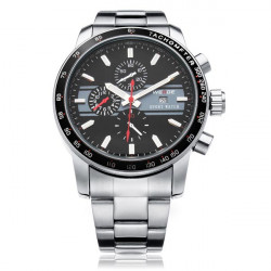 WEIDE WH3313 Silver Stainless Steel Military Calendar Men Wrist Watch