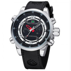 WEIDE WH3315 LED Silicone Sport Alarm Military Men Quartz Wrist Watch