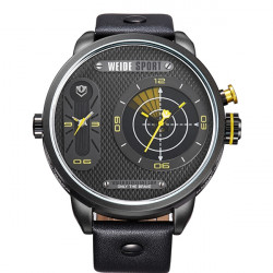 WEIDE WH3409 Sport PU Leather Military Men Quartz Wrist Watch