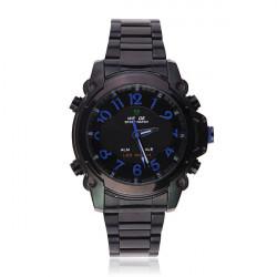 WH2302 LED Sport Alarm Stainless Steel Black Men Wrist Watch