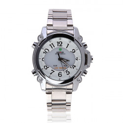 WH2302 LED Sport Alarm Stainless Steel White Men Wrist Watch