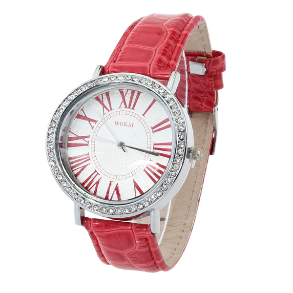 WOKAI Leather Rhinestone Roman Numeral Luxury Women Watc Watch