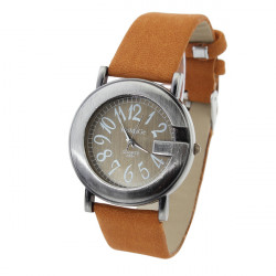 WOMAGE Fashion Round Antique Leather Quartz Watch