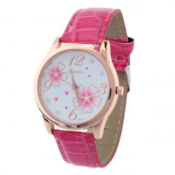 WOMAGE Women Fashion Leather Flower Rhinestone Quartz Watch