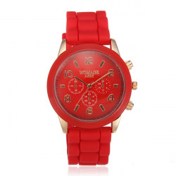 WOMAGE Women Silicone Quartz Fashion Wrist Watch