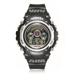 Waterproof Back light Rubber Digital Alarm Sports Men Wrist Watch