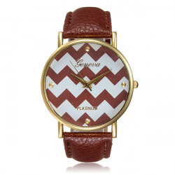 Waves Stripes PU Leather Woman Man Analog Quartz Watch