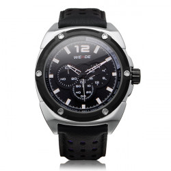 Weide WH3306 Black Military Sport Leather 3 Dial Men Wrist Watch