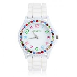 White Rubber Crystal Number Women Quartz Wrist Watch