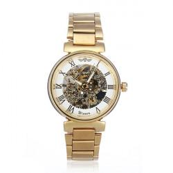Winner Men Golden Skeleton Mechanical Luxury Men Wrist Watch