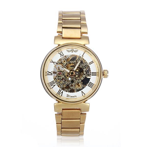 Winner Men Golden Skeleton Mechanical Luxury Men Wrist Watch Watch