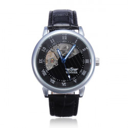 Winner Men Leather Mechanical Arabic Roman Numerals Watch