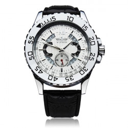Winner Men Skeleton Leather Mechanical Watch